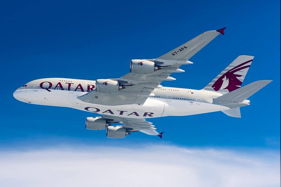 Лайнер А380 авиакомпании Qatar Airways